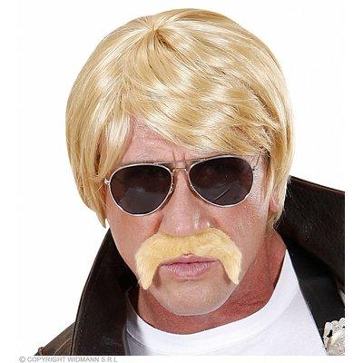 Pruik Undercover Agent Blond Met Snor En Bril
