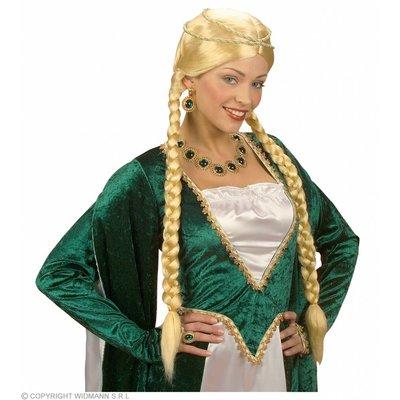 Pruik Middeleeuwse Koningin Blond In Doos