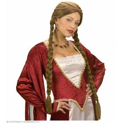 Pruik Middeleeuwse Koningin Bruin In Doos