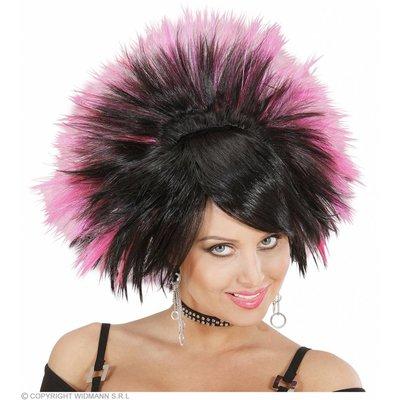Pruik Rock Prinses Zwart/Roze