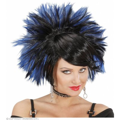 Pruik Rock Prinses Zwart/Blauw