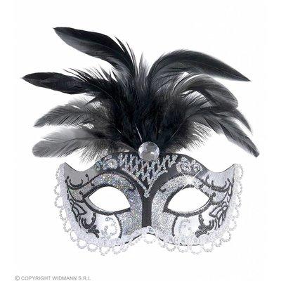 Oogmasker Zwart/Zilver Glitter Met Diamant En Veren