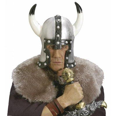 Helm Barbaar Met Hoorn Latex Zilver