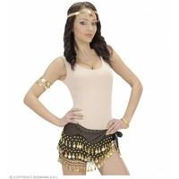 Ceintuur Buikdanseres Zwart Met Gouden Muntjes