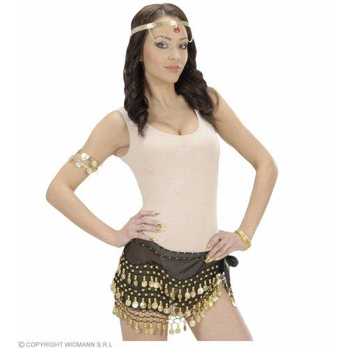 Widmann Ceintuur Buikdanseres Zwart Met Gouden Muntjes