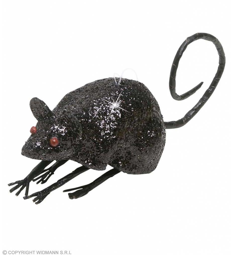 Glitter Muis Zwart 85Cm