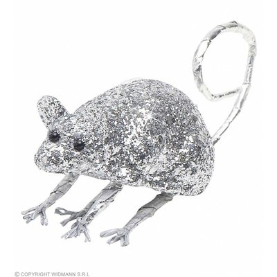 Glitter Muis Zilver 85Cm
