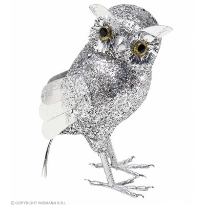 Glitter Uil Zilver 185Cm