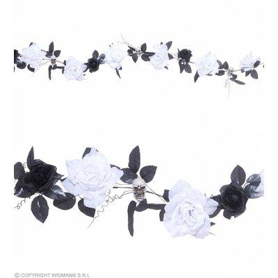 Guirlande Met Witte Rozen Schedels Verlichting- 180Cm