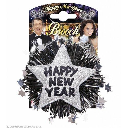 """Widmann Broche """"Happy New Year"""" Zilver"""
