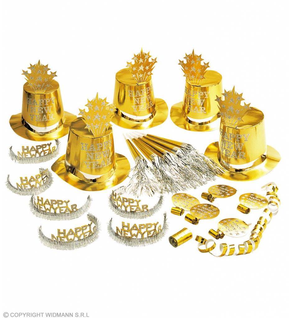 """""""Gold Happy New Year"""" Party Kit Voor 10 Personen"""