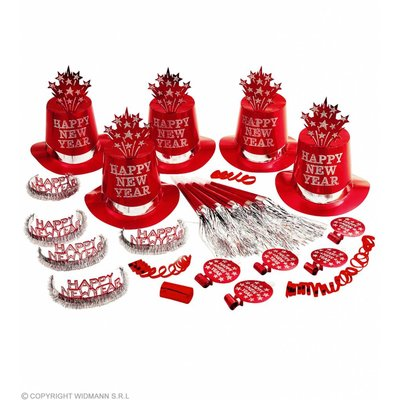 Red Happy New Year Party Kit Voor 10 Personen