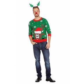 Kersttrui Groen Rendierhoofd