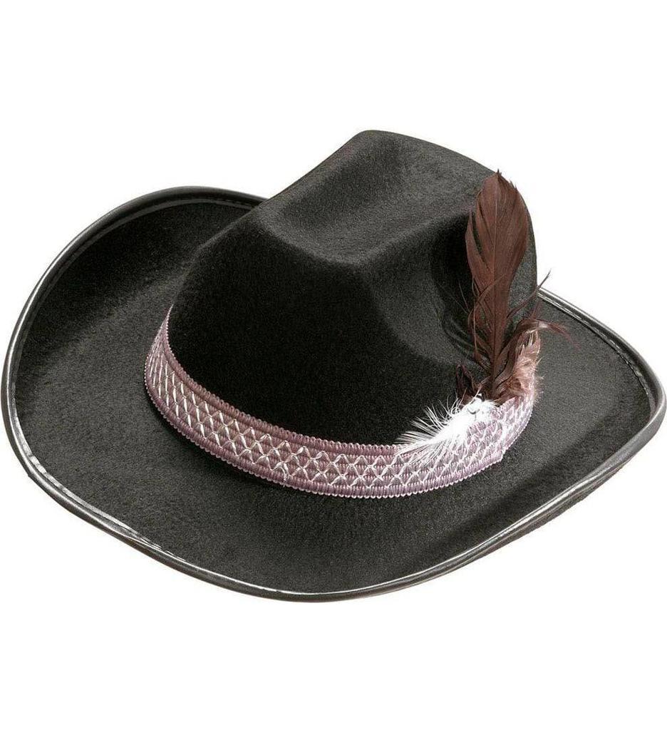 Cowboyhoed Met Veren Zwart