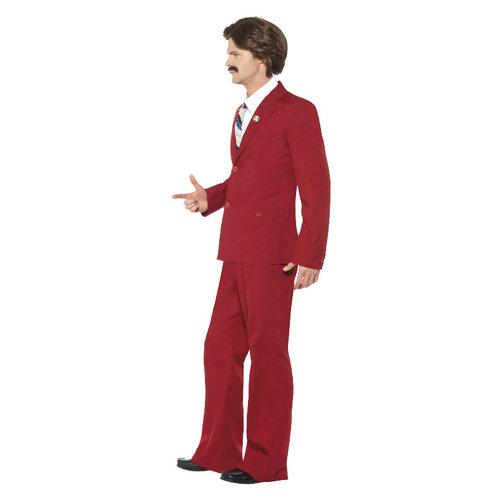 Smiffys Anchorman Ron Bordeaux Kostuum - Bordeaux