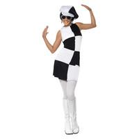 Smiffys 60s Party Girl Kostuum - Zwart-wit