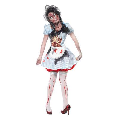 Horror Zombie Countrygirl Kostuum - Blauw