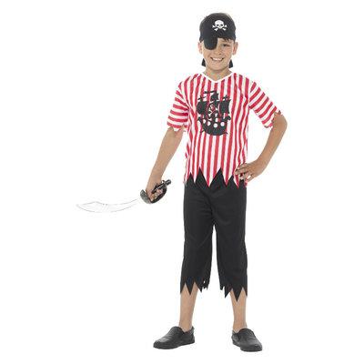 Jolly Piraat Jongen Kostuum - Rood-wit