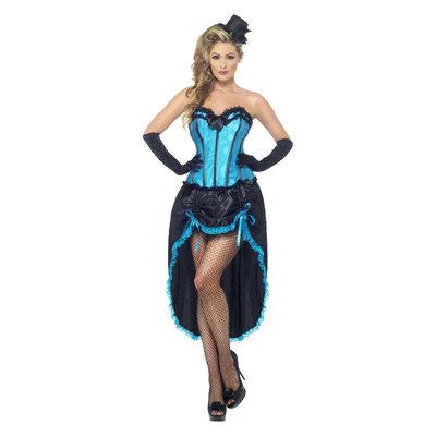 Burlesque Danseres Kostuum - Blauw