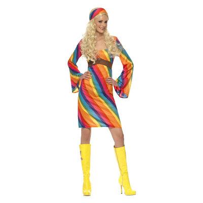 Regenboog Hippie Kostuum - Veelkleurig