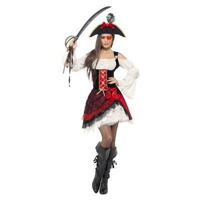 Glamoureuze Dames Piraat Kostuum - Rood