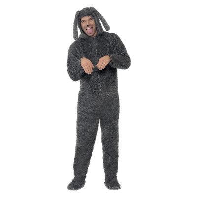 Pluizige Hond Kostuum - Grijs