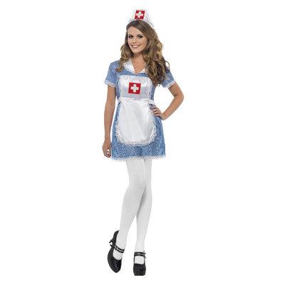 Sexy Verpleegster  Kostuum - Blauw