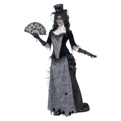 Spook Zwarte Weduwe Kostuum - Grijs