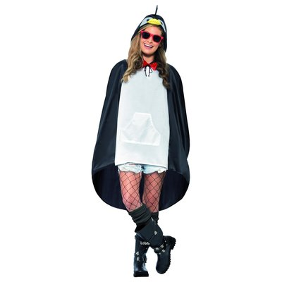 Pinguïn Party Poncho - Zwart-wit