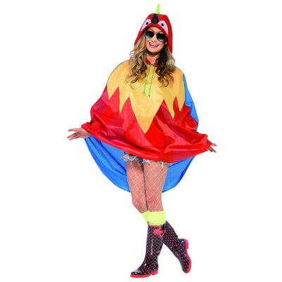 Papegaai Party Poncho - Rood