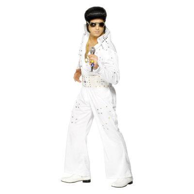 Elvis Kostuum Met Juwelen - Wit
