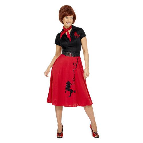 Smiffys '50 Stijl Poedel Kostuum - Rood