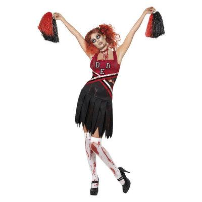 Horror Cheerleader Kostuum - Rood & zwart