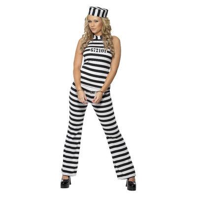 Sexy gevangene Kostuum - Zwart-wit
