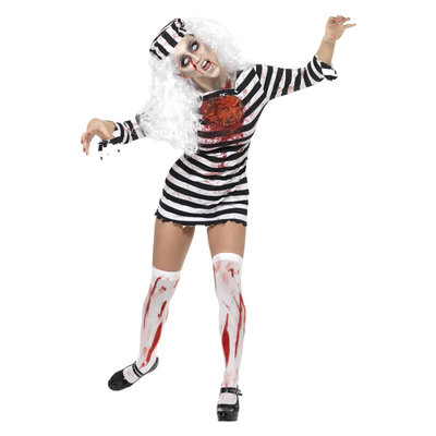 Zombie Gevangene Kostuum - Zwart-wit