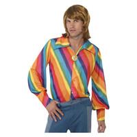 Smiffys 1970 Kleur Overhemd - Regenboog
