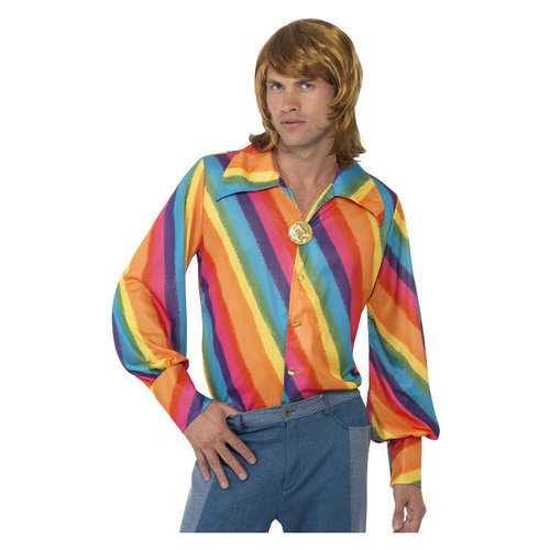 Smiffys 1970 Gestreept Overhemd - Regenboog