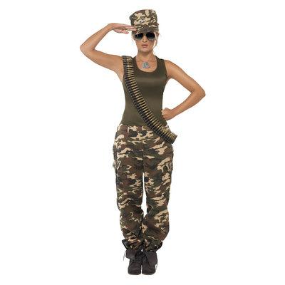 Deluxe Camouflage Kostuum - Dames - Kakigroen