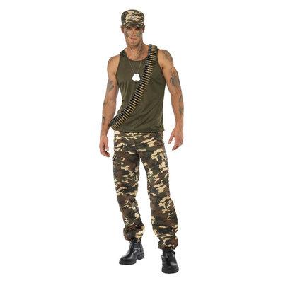 Deluxe Camouflage Kostuum  - Kaki Groen