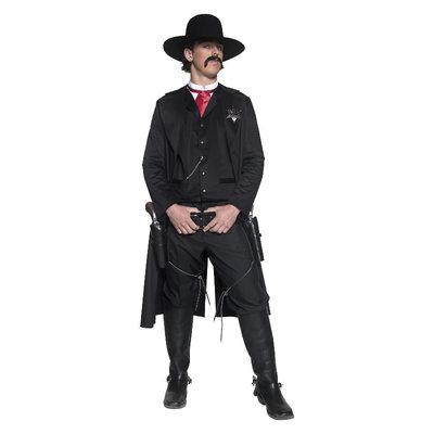 Deluxe Authentieke Western Sheriff Kostuum - Zwart
