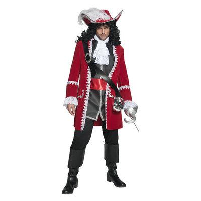 Deluxe Authentieke Piratenkapitein Kostuum - Rood