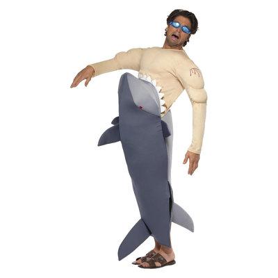 Man-etende Haai Kostuum - Grijs