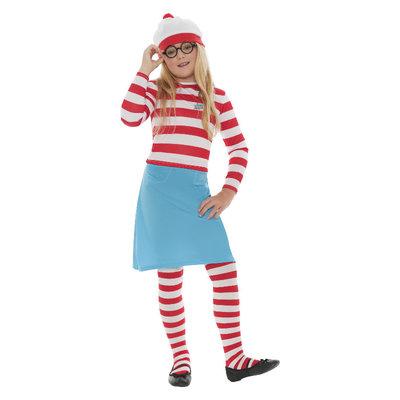 Waar Is Wally? Wenda Kind Kostuum - Rood-wit