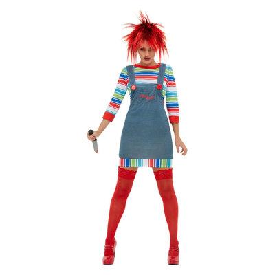 Chucky Dames Kostuum - Blauw