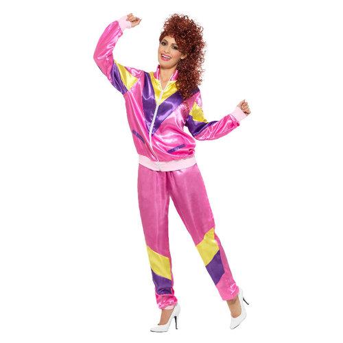 Smiffys 80s trainingspak - Roze