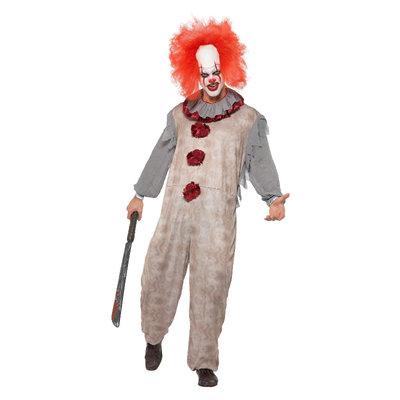 Vintage Clown Kostuum - Grijs En Rood