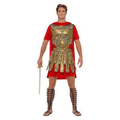 Romeinse Gladiator Kostuum - Goud En Rood