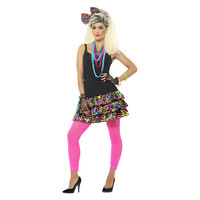 Smiffys 80s Party Girl Verkleedset- Multi-colored