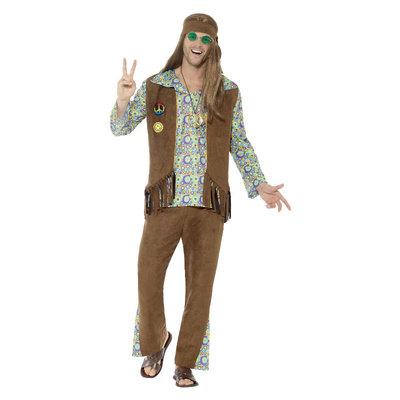 '60 Hippie Kostuum - Met Broeken - Bovenkant - Vest -