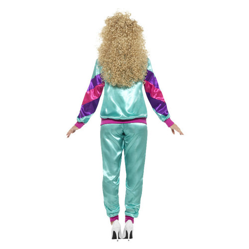 Smiffys 80 trainingspak dames - multicolor glimmend